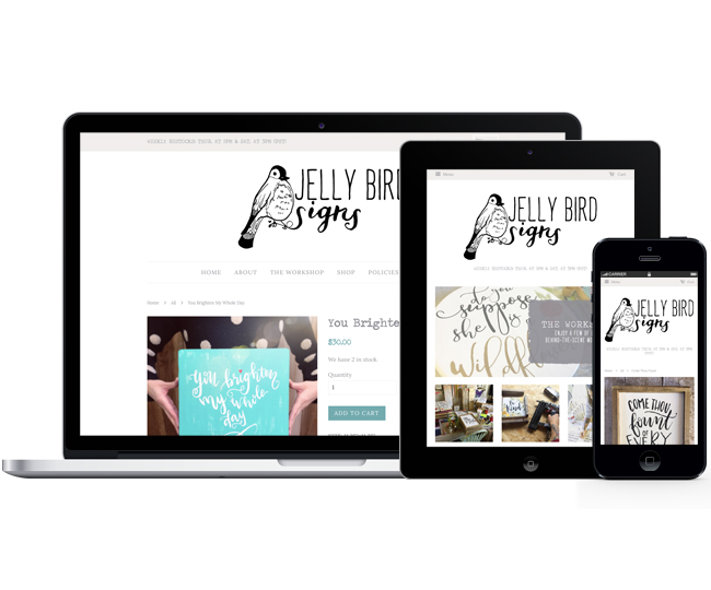 Mobile Friendly Ecommerce Design for Jelly Bird Signs by Jelly Design Studio | jellydesignstudio.com