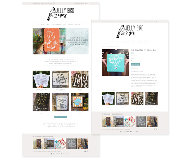 Shopify Website Design for Jelly Bird Signs by Jelly Design Studio | jellydesignstudio.com